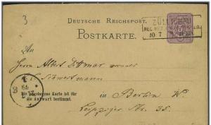 Ganzsache 1879 mit R3 ZUELLIGHAU (51777)