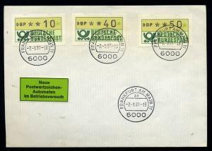 BUND 1981 ATM Nr 1 FDC Versuchsstandort FFM (55203)