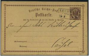 Ganzsache 1873 mit R3 NEUSTADT Reg.Bez.Cassel (51778)