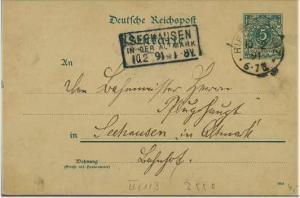 Ganzsache 1891 mit R3 SEEHAUSEN Altmark (51772)