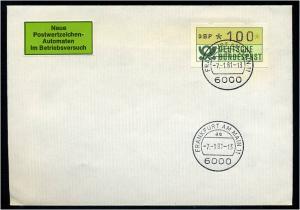BUND 1981 ATM Nr 1 FDC Versuchsstandort FFM (55208)