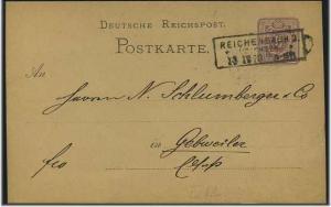 Ganzsache 1879 mit R3 REICHENBACH (51569)