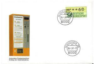 BUND 1981 ATM Nr 1 Versuchsstandort FDC ME 13.- (55484)