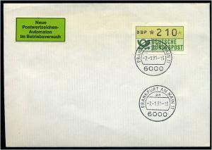 BUND 1981 ATM Nr 1 FDC Versuchsstandort FFM (55210)
