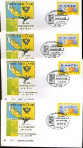 BUND 1999 ATM Nr 3.2 - 4 Werte auf FDC (62888)