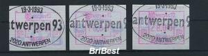 BELGIEN 1993 ATM Nr 28 S1 Satz gestempelt (79780)