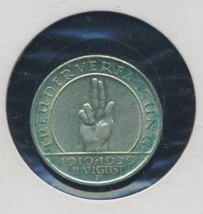 WEIMAR - 3Mk 1929F Verfassung ss-vz (92158)