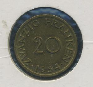 SAARLAND - 20Franken 1954 ss-vz (92188)