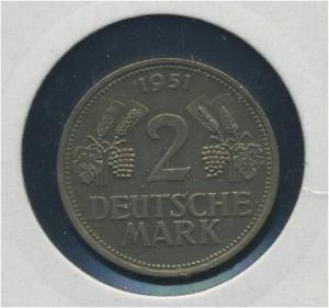 BUND - 2DM 1951D Aehre und Trauben ss (92171)