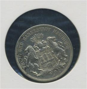 HAMBURG - 3Mk 1908J Wappen, ss-vz (92301)