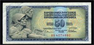 50 Dinar 1978 Banknote JUGOSLAWIEN siehe Beschreibung (103826)