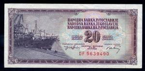 20 Dinar 1974 Banknote JUGOSLAWIEN siehe Beschreibung (103827)