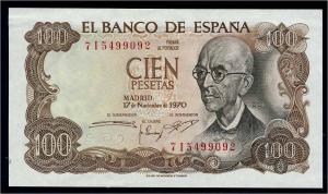100 Peseten 1970 Banknote SPANIEN siehe Beschreibung (103840)