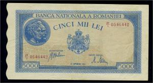 5000 Lei 1943 Banknote RUMAENIEN siehe Beschreibung (103846)