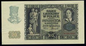 20 Zloty 1940 Banknote POLEN siehe Beschreibung (103853)