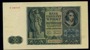 50 Zloty 1941 Banknote POLEN siehe Beschreibung (103871)