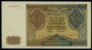 100 Zloty 1941 Banknote POLEN siehe Beschreibung (103873)