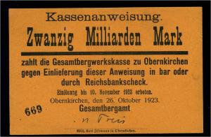 20Mrd. Mark 1923 Aushilfsschein siehe Beschreibung (103978)