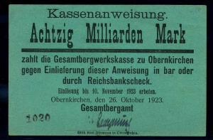 80Mrd. Mark 1923 Aushilfsschein siehe Beschreibung (103979)