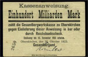 100Mrd. Mark 1923 Aushilfsschein siehe Beschreibung (103980)