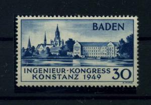 FRZ.ZONE BADEN 1949 Nr 46II Haftstelle/Falz (110467)