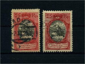 LIECHTENSTEIN 1921 Nr 54a+b gestempelt (105652)