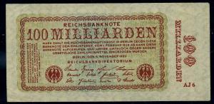 DEUTSCHES REICH 100 Milliarden Banknote siehe Beschreibung (111306)