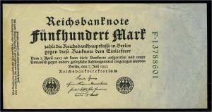 DEUTSCHES REICH 500 Mark Banknote siehe Beschreibung (111313)