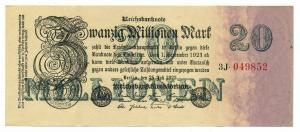 DEUTSCHES REICH 20Mio. Mark Banknote siehe Beschreibung (111323)