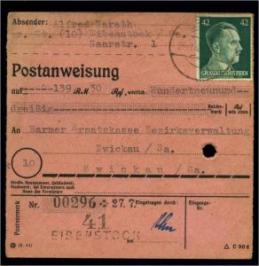 POSTANWEISUNG 1944 EIBENSTOCK siehe Beschreibung (114488)