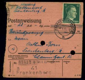 POSTANWEISUNG 1944 FRANKENBERG siehe Beschreibung (114489)