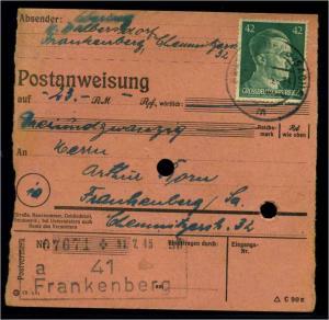 POSTANWEISUNG 1944 FRANKENBERG siehe Beschreibung (114490)