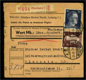 Paketkarte 1943 PFORZHEIM siehe Beschreibung (114656)
