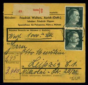 Paketkarte 1942 AURICH siehe Beschreibung (114657)