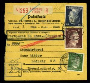 Paketkarte 1942 SONNEBERG siehe Beschreibung (114666)