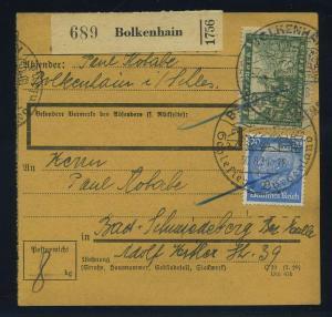 Paketkarte 1934 BOLKENHAIN siehe Beschreibung (114743)