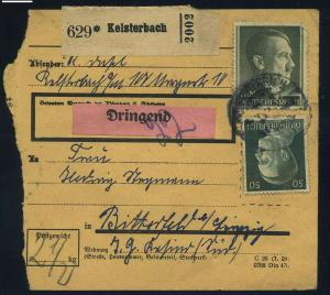 Paketkarte 1943 KELSTERBACH siehe Beschreibung (114797)