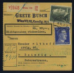 Paketkarte 1942 WIEN siehe Beschreibung (114801)