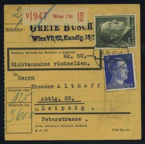 Paketkarte 1942 WIEN siehe Beschreibung (114802)