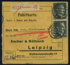 Paketkarte 1942 PFORZHEIM siehe Beschreibung (114805)