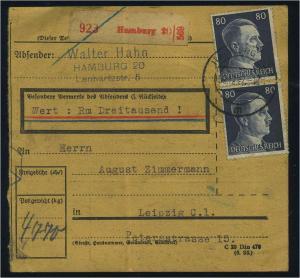 Paketkarte 1942 HAMBURG siehe Beschreibung (114834)