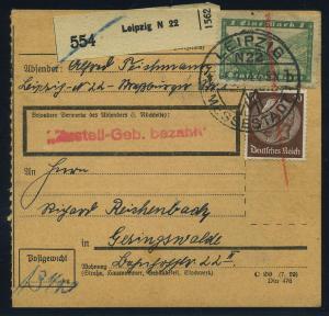 Paketkarte 1936 DESSAU siehe Beschreibung (114997)