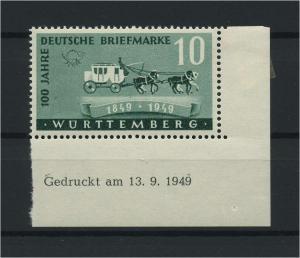 FRZ.ZONE WUERTTEMBERG 1949 Nr 49Bru postfrisch (116960)