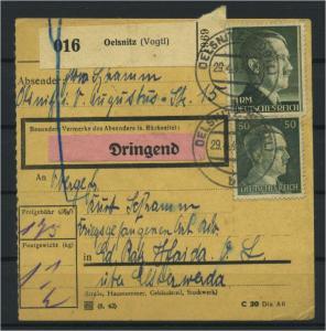 Paketkarte 1943 OELSNITZ siehe Beschreibung (117522)
