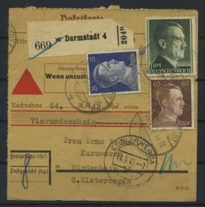 Paketkarte 1943 DARMSTADT 4 siehe Beschreibung (117523)