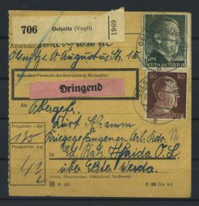 Paketkarte 1943 OELSNITZ siehe Beschreibung (117525)