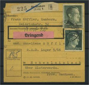 Paketkarte 1943 DINSLAKEN siehe Beschreibung (117526)