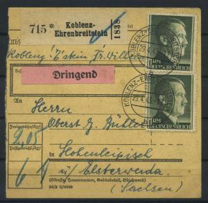 Paketkarte 1943 KOBLENZ-EHRENBREITSTEIN siehe Beschreibung (117527)