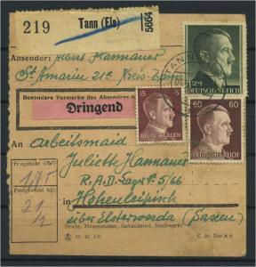 Paketkarte 1943 TANN siehe Beschreibung (117528)