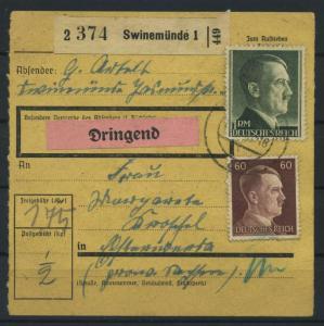 Paketkarte 1943 SWINEMUENDE siehe Beschreibung (117529)